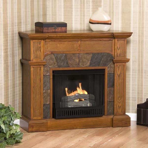 Hollandale Mission Oak Gel Fireplace