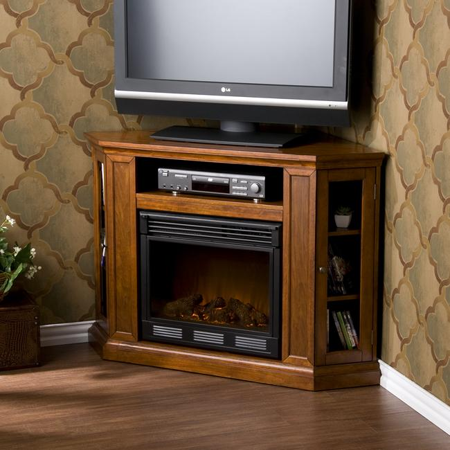 Upton Home Belvedere Mahogany Media Console Electric Fireplace - Home ...