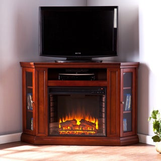 Belvedere Mahogany Media Console Electric Fireplace