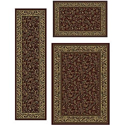 Contemporary Caroline Floral 3-piece Rug Set (3'3 x 4'11, 5'5 x 7'7, 2'2 x 7'7)