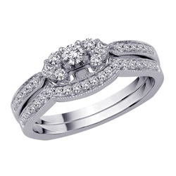 14k White Gold 1/3ct TDW Diamond Engagement Ring Set (G-H, SI1) (Size 6.75)