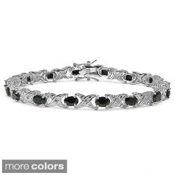 Malaika Sterling Silver Gemstone and 1/10ct TDW Diamond Bracelet (I-J, I2-I3)
