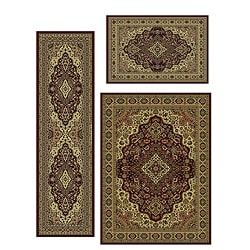 Traditional Caroline Medallion 3-piece Rug Set (3'3 x 4'11, 5'5 x 7'7, 2'2 x 7'7)