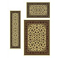 Traditional Caroline Sarouk Ivory 3-piece Rug Set (3'3 x 4'11, 5'5 x 7'7, 2'2 x 7'7)