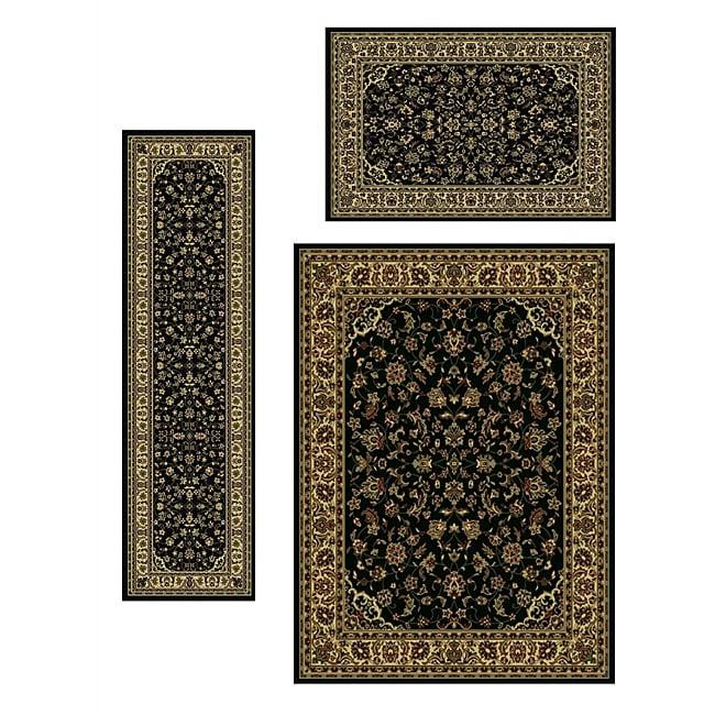 Traditional Caroline Sarouk Black (Set of 3)