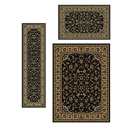 Traditional Caroline Sarouk Black 3-piece Rug Set (3'3 x 4'11, 5'5 x 7'7, 2'2 x 7'7)