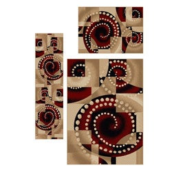 Contemporary Virginia Spiral 3-piece Rug Set (3'3 x 4'11, 5'5 x 7'7, 2'2 x 7'7)