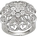 Sterling Silver Diamond Accent Floral Design Ring