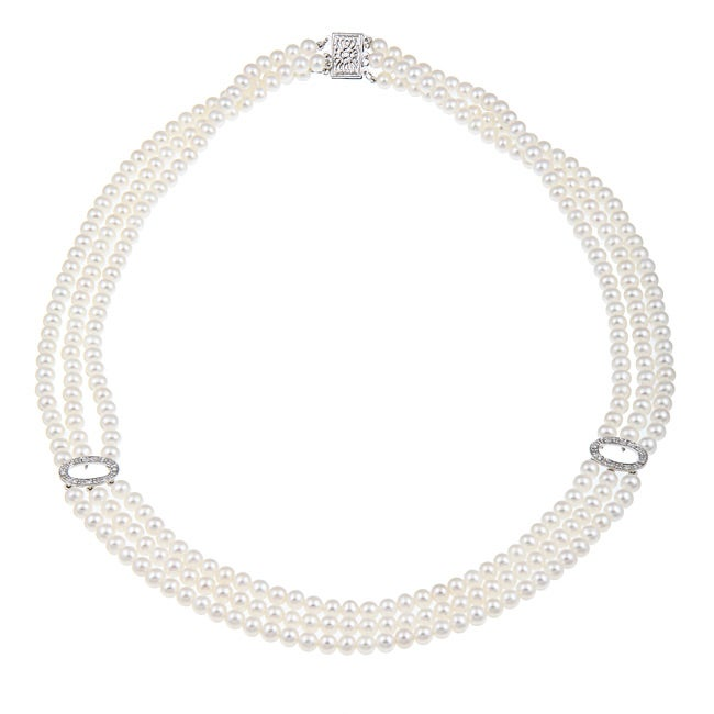 Pearls For You 14k Gold Pearl and 1/10ct TDW Diamond Necklace (4-4.5 mm) (H-I, I1-I2)