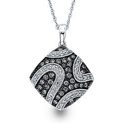 SilverMist Sterling Silver 1/2ct TDW Grey and White Diamond Necklace