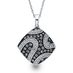 Sterling Silver 1/2ct TDW Grey and White Diamond Necklace