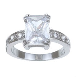 Gold Overlay Emerald-cut Cubic Zirconia Ring