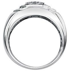 SilverMist Sterling Silver Men's 1/2ct TDW Grey and White Diamond Ring