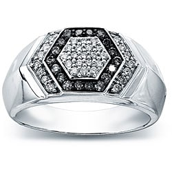 Sterling Silver Men's 1/2ct TDW Grey and White Diamond Ring