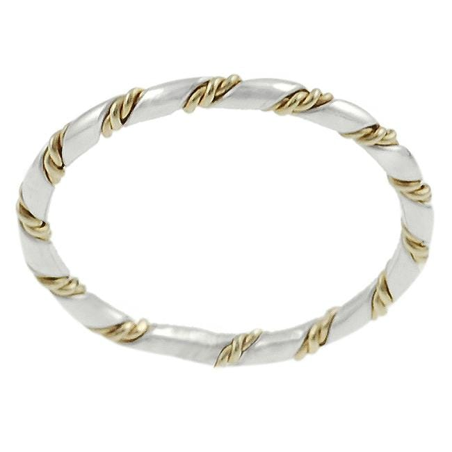 Journee Sterling Silver and Goldfill Twist Ring
