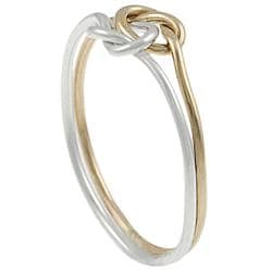 Tressa Sterling Silver and Goldfill Knotted Two-piece Ring