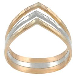 Tressa Sterling Silver and Goldfill 3-band 'V' Ring