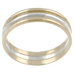 Tressa Sterling Silver and Goldfill 3-band Ring