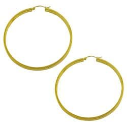 Fremada 10k Yellow Gold 55-mm Diamond-cut Flat Hoop Earrings