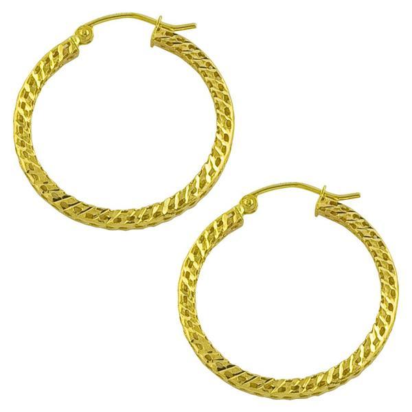 Fremada 14k Yellow Gold 25-mm Diamond-cut Flat Hoop Earrings