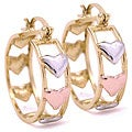 14k Goldplated Tri-color Heart Hoop Earrings (Mexico)