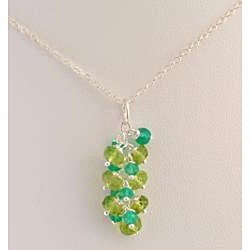 Sterling Silver Peridot and Green Onyx Cascade Necklace
