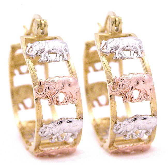 14k Goldplated Tri-color Elephant Hoop Earrings (Mexico)