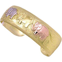 14k Goldplated Tri-color Elephant Cuff Bangle (Mexico)