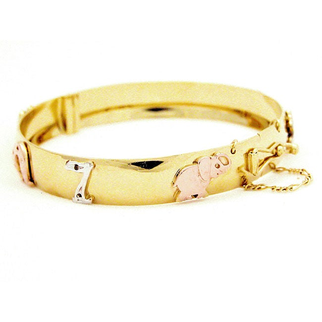 14k Goldplated Good Luck Symbols Bangle Bracelet (Mexico)