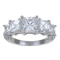 Gold Overlay Princess-cut Cubic Zirconia 5-stone Ring