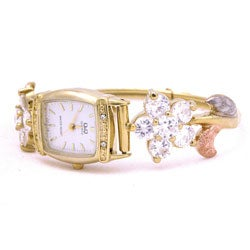 14k Goldplated Crystal Flower Bangle Bracelet Watch (Mexico)