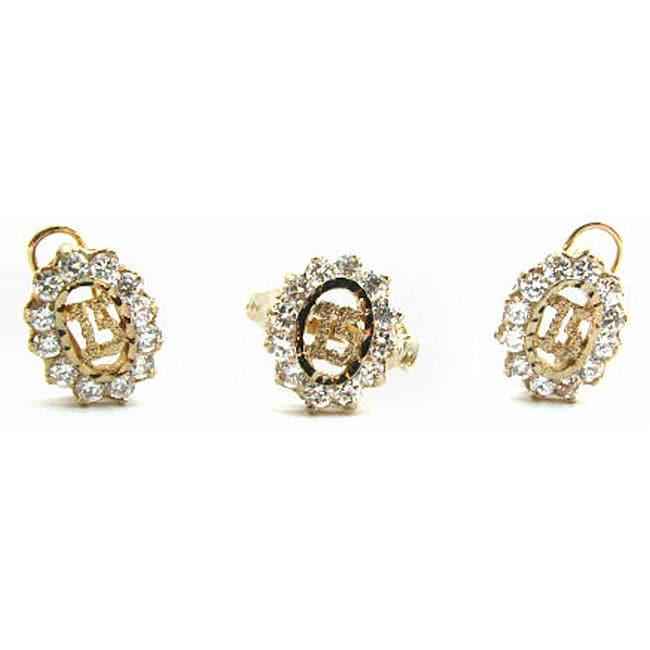 14k goldplated quinceanera cubic zirconia jewelry set