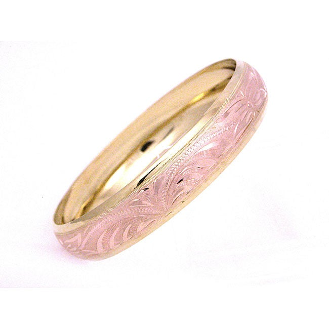 Wide Engraved 14K Rose Gold Plated Bangle Bracelet (Mexico)
