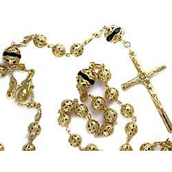14k Goldplated Filigree Black Enamel Rosary Necklace (Mexico)