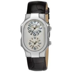 Philip Stein Women's 'Signature' Stainless-Steel Black-Strap Dual-Time Watch