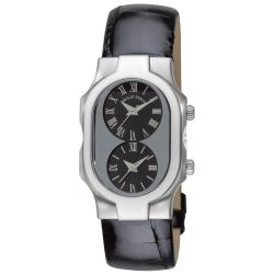 Philip Stein Women's 'Signature' Black Strap Dual Time Watch