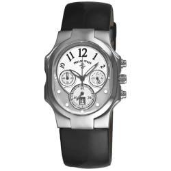 Philip Stein Women's 'Signature Classic Chrono' Black-Strap Stainless-Steel Watch