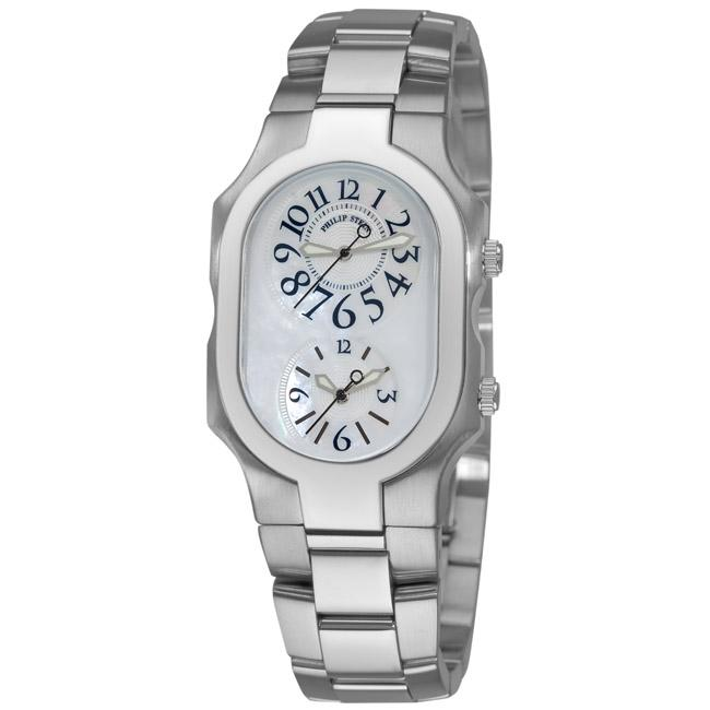 philip stein s signature stainless steel dual time