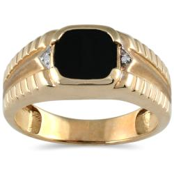 Men's 10k Yellow Gold Onyx and Diamond Accent Ring