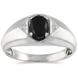 10k White Gold Onyx and Diamond Men's Ring