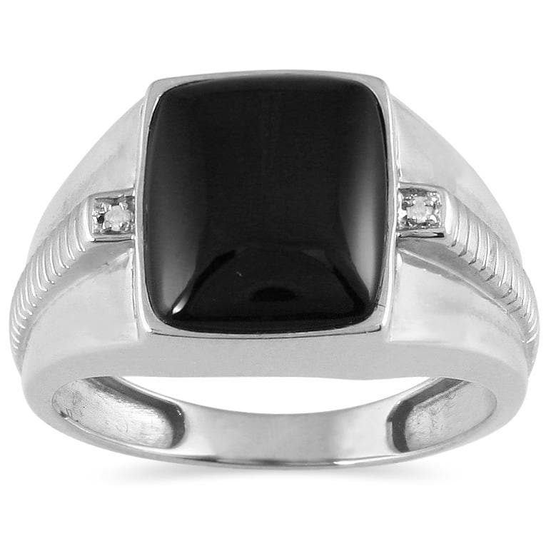 Marquee Jewels 10k White Gold Onyx and Diamond Men's Ring