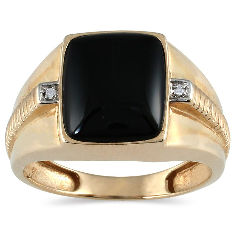 Marquee Jewels 10k Yellow Gold Men's Onyx and Round-cut Diamond Accent Ring