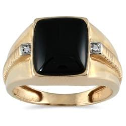 10k Yellow Gold Men's Onyx and Diamond Accent Ring