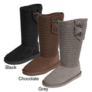 Pawz by Bearpaw Knit Shaft Shearling Lined Boots