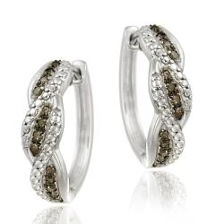 DB Designs Sterling Silver 1/4ct TDW Brown Diamond Swirl Hoop Earrings