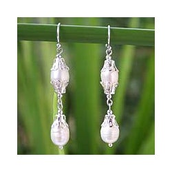 Sterling Silver 'Clouds' Pearl Drop Earrings (8 mm) (Thailand)