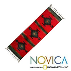 Mexican Hancrafted 'Forest Spirit' Zapotec Wool Runner (1' x 3'6)