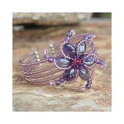 Stainless Steel 'Purple Pinwheel' Amethyst Wrap Bracelet (Thailand)