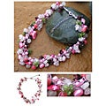 Silk 'Heritage' Pearl and Rose Quartz Beaded Necklace (5-8 mm) (Thailand)