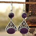 Sterling Silver Amethyst 'Renewal' Dangle Earrings (India)